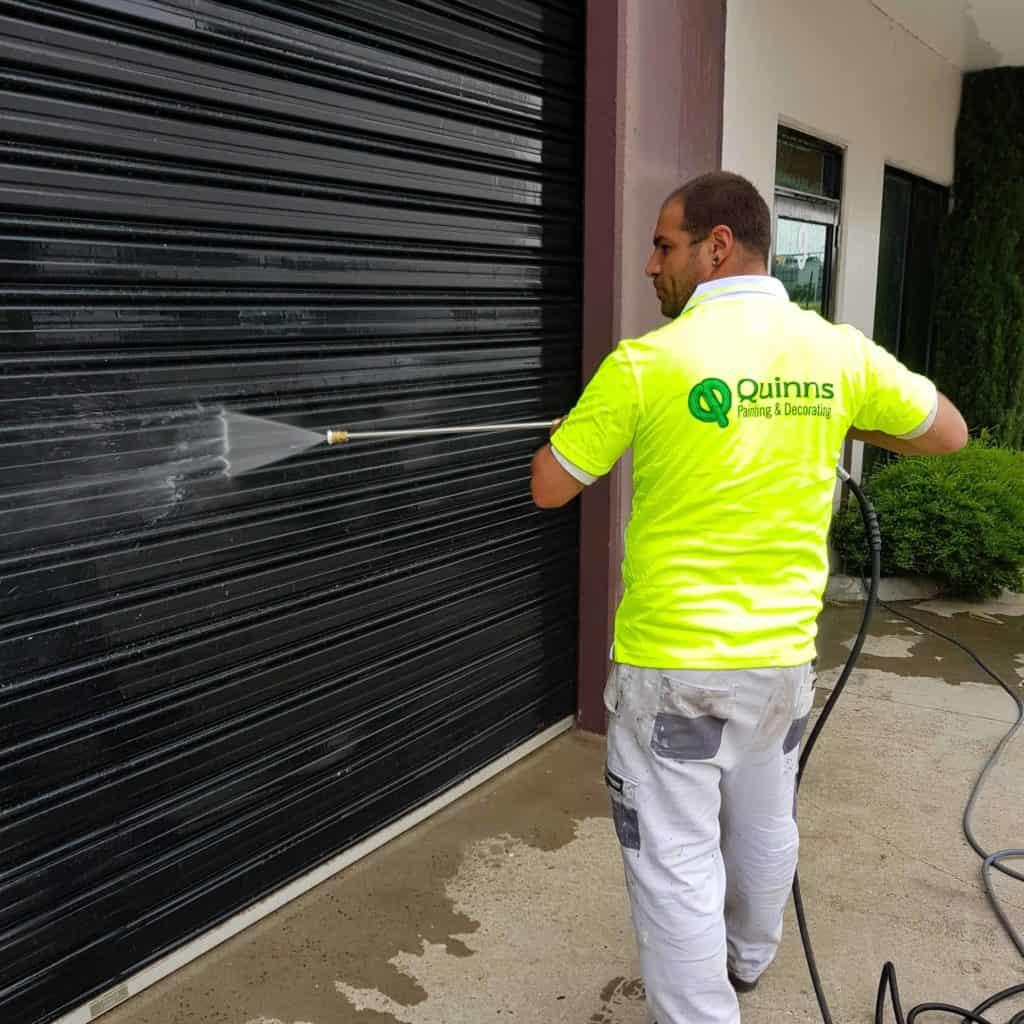 Pressure Washing a garage roller door