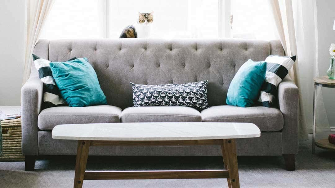 beautiful grey couch with blue cushions and timber coffee table