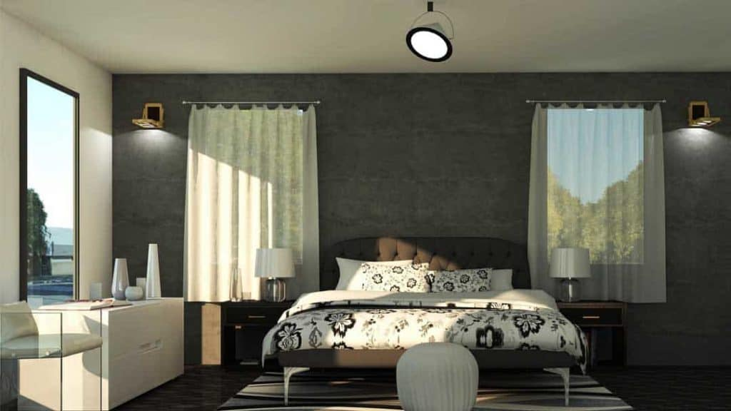 photo of a bedroom with eggshell grey paint on the walls with queen bed