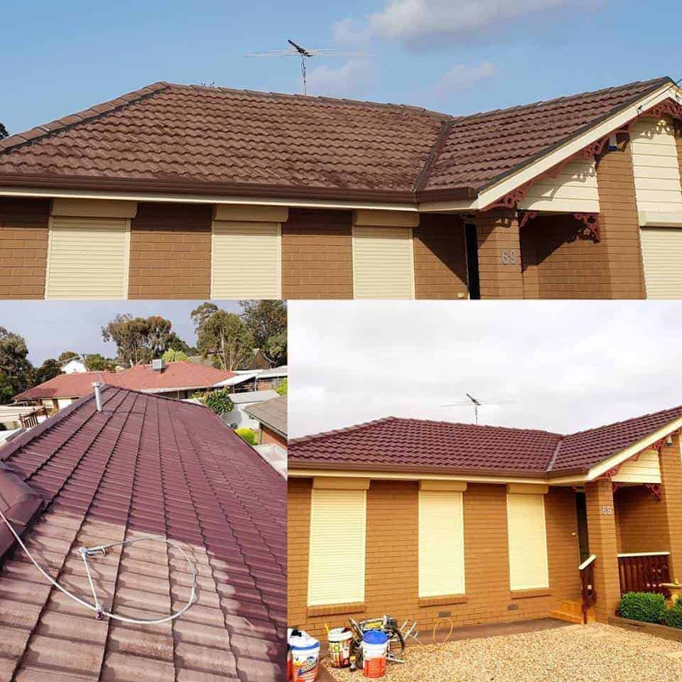 collage of roof painting job