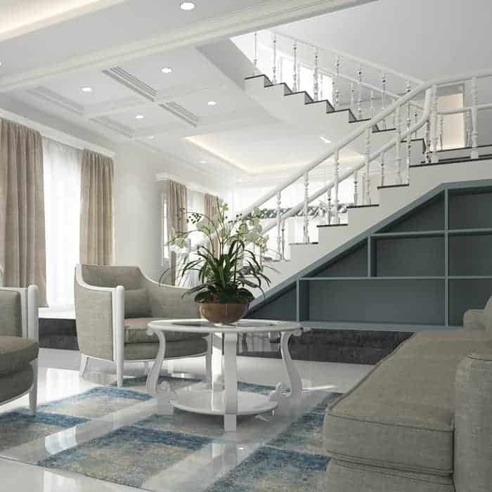 House Painters Sunbury - Double story interior with white stairs and polished tile floor