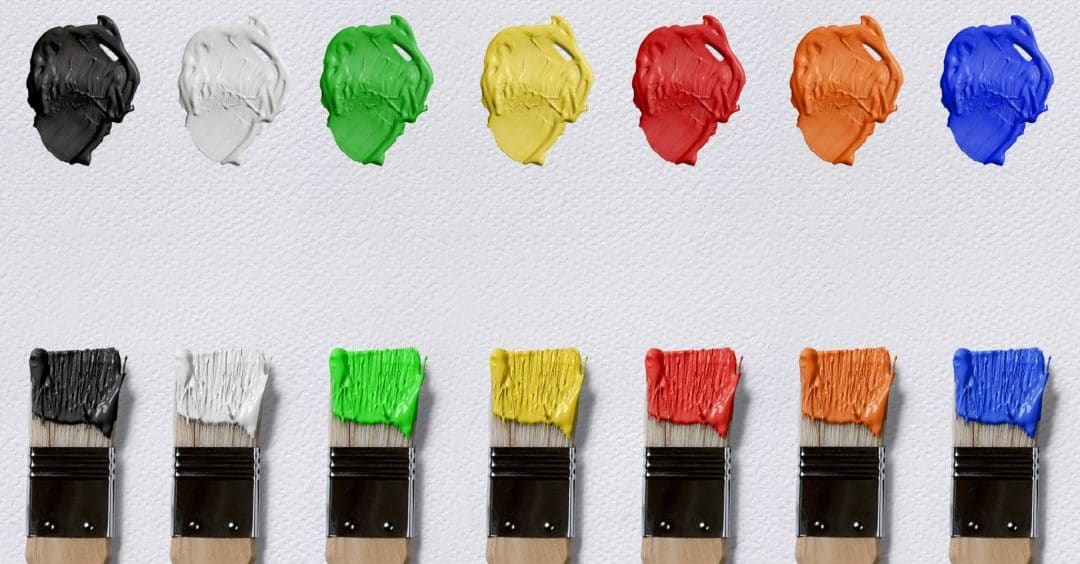 Paintbrushes with variety of colours