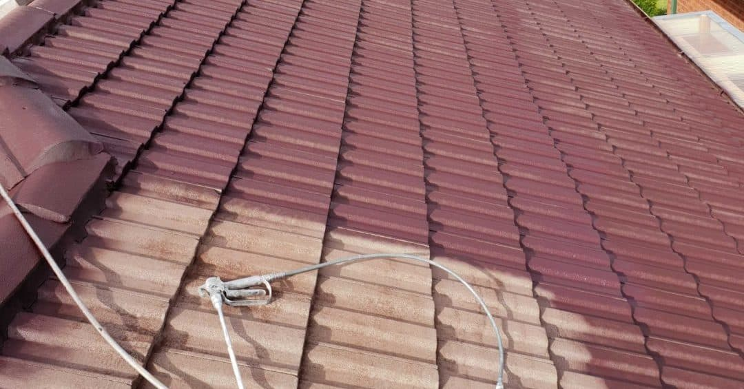 Painting a tiled roof burgundy