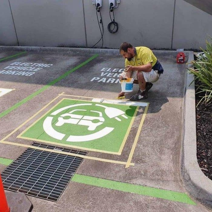 line marking a car park for electrical vehicle charging spots