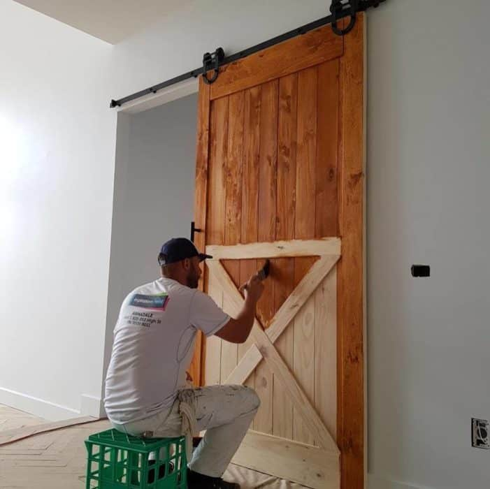 painting a wooden barn style door